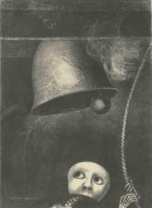 Odilon Redon À Edgar Poe : planche 3, Un masque sonne le glas funèbre, 1882 Lithographie © BnF