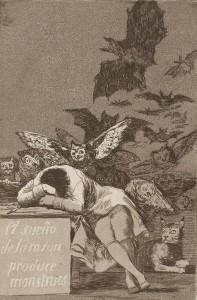 Francisco Goya Caprices 43, Sommeil de la raison engendre des monstres, 1799 Eau-forte © BnF