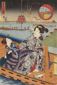 Utagawa Kuniyoshi (1797-1861), La fête de la rivière au pont Ry?goku, le cinquième mois (série sans titre de beautés avec enfants au fil des douze mois de l'année), vers 1836. Nishiki-e, format ?ban (39 × 26,5 cm). Collection particulière. Photo : Courstesy of Gallery Beniya.