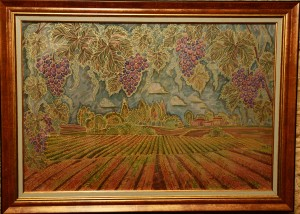 Série« Dans les vignobles Bourguignons », 38x57 cm; 2015.Peinture sur soie. Photo par Christopher Powell