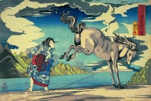 Utagawa Kuniyoshi (1797-1861), Okane, femme courageuse de la province d'?mi Vers 1831-1832. Nishiki-e, format ?ban (26,5 × 39 cm). Collection particulière. Photo : Courstesy of Gallery Beniya