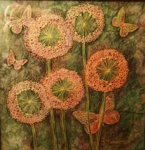 « Début d'été », 44,5x43,5 cm; 2015.Peinture sur soie avec l'effet 3D. Photo par Christopher Powell