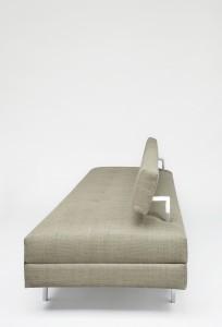 Banquette AR-1 - Janine Abraham & Dirk Jan Rol Edition Huchers Minvielle - 1959/1960 Métal laqué et chromé, acajou, double matelas, mousse et tissu Long. 200 x Larg. 77 x Haut. 67 cm