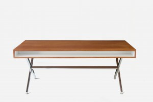 Bureau PDG Gamme président - Pierre Guariche Edition Huchers Minvielle - 1961 Métal Chromé, acajou et stratifié Long. 183 x Larg. 90 x Haut. 73 cm