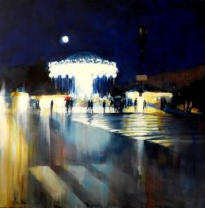 Agnès Guillon, Blue notes, 2015, huile sur toile, 100 x 100 cm Courtesy of the artist