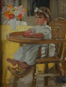 Berthe Noufflard, Genevie?ve dans sa chaise de be?be?, 1921, huile sur carton, 35 x 27 cm, Paris, Association Andre? et Berthe Noufflard