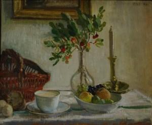 Berthe Noufflard, Nature morte a? la tasse de lait, 1941, huile sur toile, 38 x 46 cm, Paris, Association Andre? et Berthe Noufflard