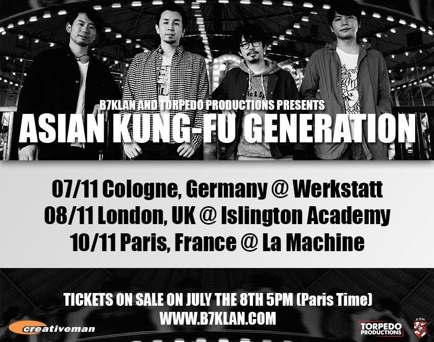 [Live Report] Concert parisien d'Asian Kung Fu Generation à la Machine le 10 novembre 2015