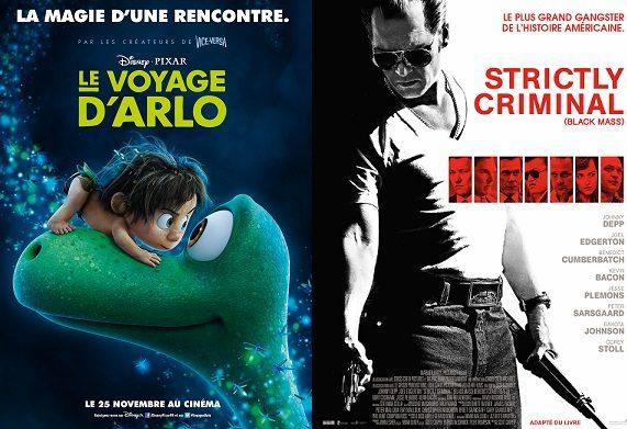 Box-office France semaine : 570000 entrées pour « Le Voyage d'Arlo » de Pixar, petit score pour Johnny Depp