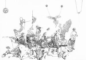 «Cartographie» Encre de Chine sur toile, 80 x 110 cm
