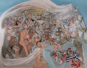 « La traversée des mariés du coeur », 2015 Huile sur toile, 115 x 146 cm