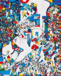 « Paradigme » Encre de Chine, acrylique et feutre sur toile, 160 x 130 cm