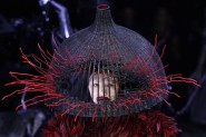 Model displays a creation by British designer Alexander McQueen as part of his Fall/Winter 2009/10 ready-to-wear women's collection during Paris Fashion Week