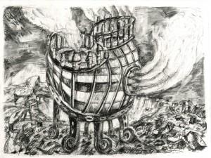 """Daniel Flammer, """" Machine à fumée"""" , 2015, 50 x 65 cm pierre noire, fusain sur papier"""