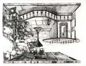 """Daniel Flammer, """" La terre s'ouvre"""" , 2015, 50 x 65 cm pierre noire, fusain sur papier"""
