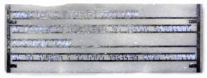 Stéfane Perraud, Lettre à Gilgamesh, fragment 1bis, 2013, marbre de Tinos, paladium, led, 35 x 70 x 4 cm, courtesy Galerie de Roussan et Stéfane Perraud
