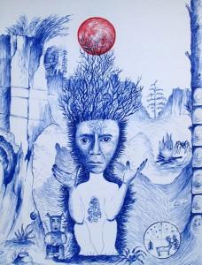 Le Chaman, 2015, stylo bic bleu et rouge, 32 x 24 cm