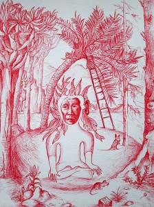 L'indien, 2015, stylo bic rouge, 32 x 24 cm