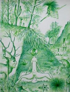 Notre Mère La Terre, 2015, stylo bic vert, 32x24 cm