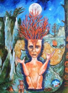 Le chaman, 2016, huile sur toile, 65 x 50 cm