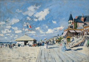On the Beach at Trouville, 1870 (oil on canvas)