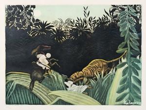 Henri Rousseau (d'apre?s), Eclaireur attaque? par un tigre aquatinte, circa 1930