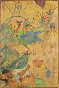 Paul Gauguin, L'ibis bleu 1892 Tahiti, gouache, aquarelle et encre sur parchemin, 90x59.8 cm