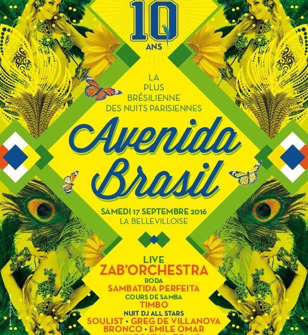 Gagnez 5×2 places pour Avenida Brasil fête ses 10 ans le samedi 17 septembre à la Bellevilloise