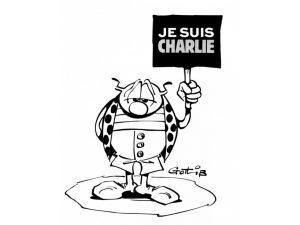 """Après l'attaque perpétrée dans les locaux de """"Charlie Hebdo"""", à Paris, le 7 janvier, nombreux sont les caricaturistes, et plus largement les dessinateurs, qui rendent hommage aux victimes avec leur crayon. Ici, la coccinelle de Gotlib endeuillée fait partie des nombreux dessins publiés sur la page dédiée au journal satirique sur le site du magazine """"Fluide Glacial""""."""