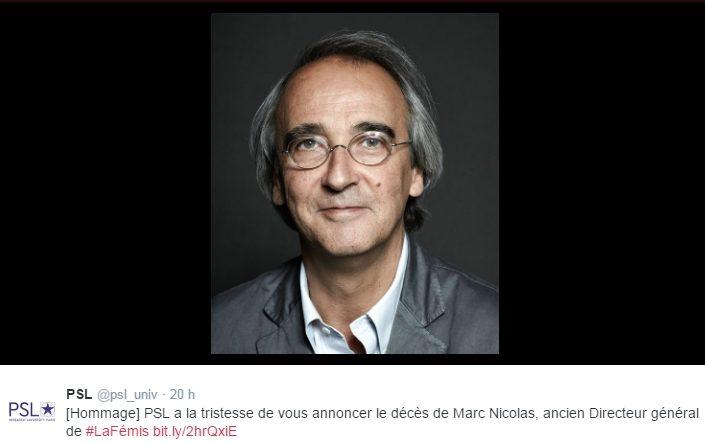 Marc Nicolas, l'ex-directeur de la Fémis, est décédé