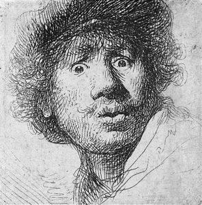 Rembrandt aux yeux hagards, autoportrait, eau forte 1630