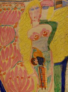 corbaz-reclame-de-tokyo-crayons-de-couleur-sur-papier-vers-1959-60-x-43cm
