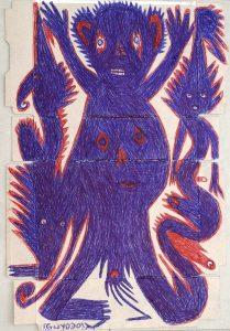 Frantz Jacques dit Guyodo, dessin sur carton recyclé, 59x40 cm, 2014