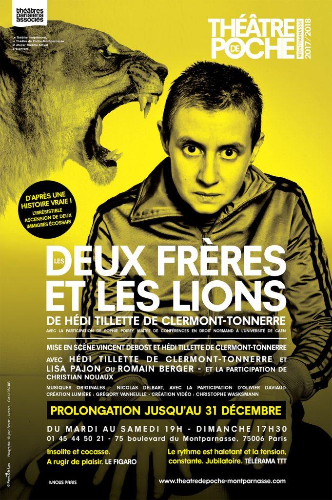Deux Frères et les lions de Hedi Tillette de Clermont-Tonnerre au Poche Montparnasse