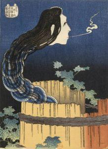 Hokusai, L'Esprit de la servante Okiku sortant d'un puits, XIXe siècle