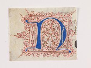 Initiale N filigranée - Parchemin enluminé Italie, deuxième moitié du XVe siècle Musée des Beaux-Arts de Rouen Donation Henri et Suzanne Baderou, 1975 © IRHT-CNRS /Réunion des Musées Métropolitains Rouen Normandie