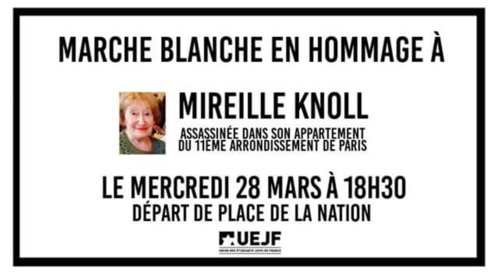 Meurtre de Mireille Knoll : une marche blanche se tiendra mercredi