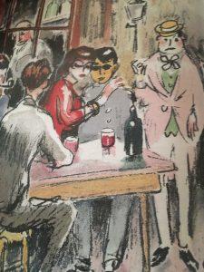 Van Dongen, Fernande Olivier, Apollinaire et Max Jacobs réunis aux enfants de la butte des Trois-Frères, lithographie 1949