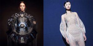 À gauche : création de Clara Daguin – © Marie-Amélie Tondu et Alexis Senaffe/ à droite : création d'Iris van Herpen – © Molly SJ Lowe