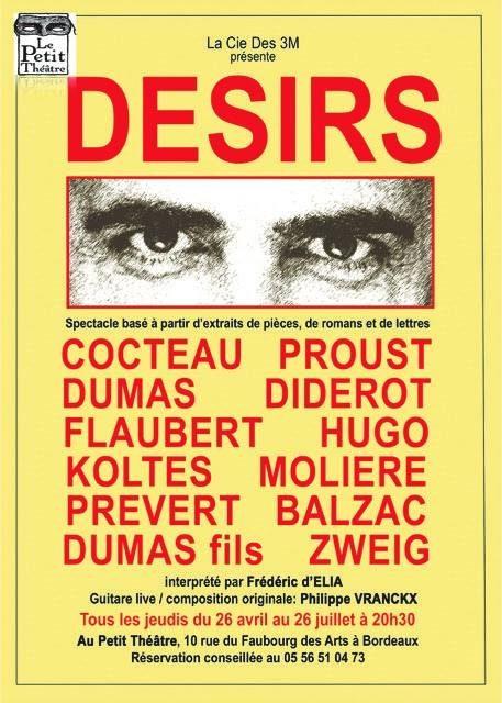 DESIRS, un joli tissu tricoté d'œuvres littéraires et guitare acoustique au Petit Théâtre de Bordeaux