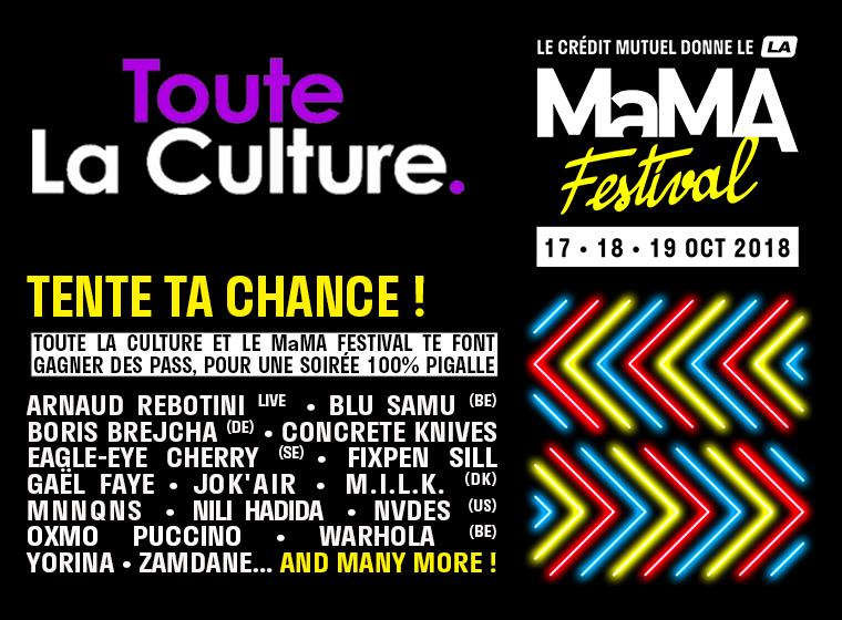 Gagnez 3×2 pass 1 jour pour le MaMA festival