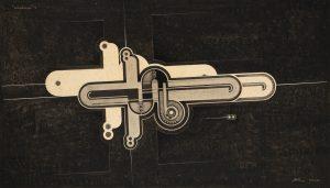 Robert Michel, '' Stud-mécanique '' : I, 1924 Collage, gouache, peinture cuivre, encre, inter-ligne et pulvérisation sur papier vélin ; montage réalisé par l'artiste à une date postérieure 44,5 x 67,5 cm