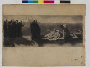 Gabriel Martin, Étude de composition pour Les Énervés de Jumièges, Pierre noire et estompe sur papier vergé, 23.5 x 58.4 cm, 1869.