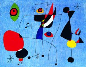 Femmes et oiseau dans la nuit 5 mai 1947 huile sur toile 73 x 92 cm États-Unis, New York Calder Foundation © Successió Miró / Adagp, Paris 2018 Photo Calder Foundation, New York / Art Resource, NY.