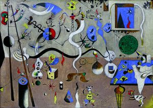 Le Carnaval d'Arlequin 1924-1925 huile sur toile ; 66 x 93 cm États-Unis, Buffalo Collection Albright-Knox Art Gallery Room of Contemporary Art Fund, 1940 © Successió Miró / Adagp, Paris 2018 Photo Albrigth-Knox Art Gallery, Buffalo / Brenda Bieger and Tom Loonan