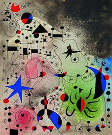 L'Oiseau migrateur 26 mai 1941 gouache et huile sur papier ; 46 x 38 cm collection particulière © Successió Miró / Adagp, Paris 2018 Image courtesy Acquavella Galleries