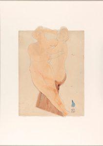 D. 05197— Deux femmes enlacées, crayon graphite et aquarelle sur deux papiers découpés et collés sur papier vélin © musée Rodin, ph. Jean de Calan