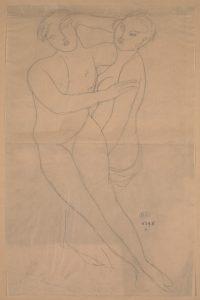 D. 06298 — Deux femmes enlacées, 1912, crayon graphite sur papier calque © musée Rodin, ph. Jean de Calan