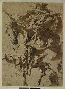 Jacques de Bellange, Cavalier, Plume et encre brune, lavis brun, 31.3 x 22.9 cm, Donation Henri et Suzanne Baderou, 1975.