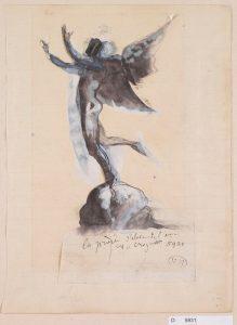 D.  05931— La prière s'élève de l'âme du croyant, 1883-1889, crayon  graphite, encre (plume et lavis), gouache  sur  papier découpé collé sur  papier réglé © musée  Rodin, ph. Jean  de  Calan